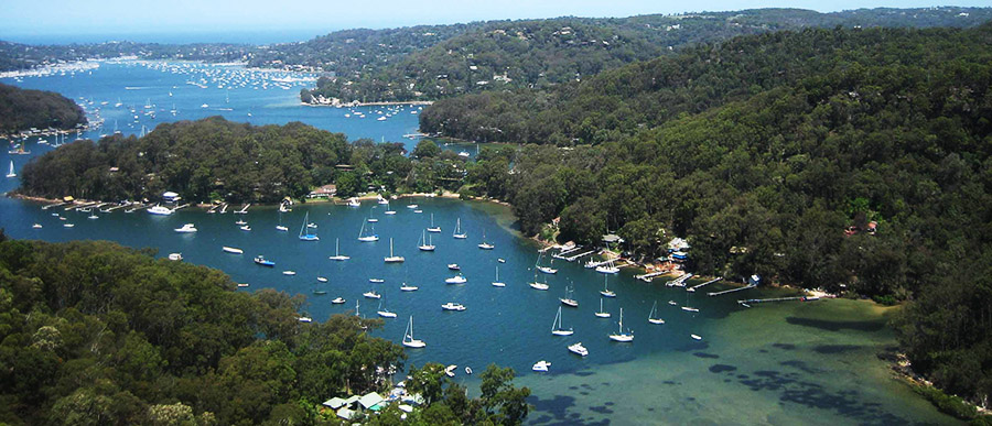 Aerial view of Pittwater from Flagstaff Hill